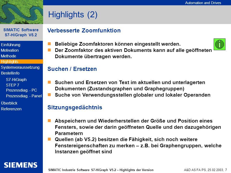Highlights (2) Verbesserte Zoomfunktion Suchen / Ersetzen