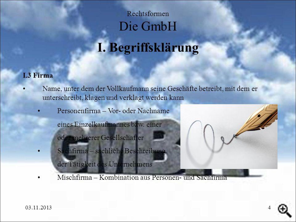 I. Begriffsklärung Rechtsformen Die GmbH I.3 Firma