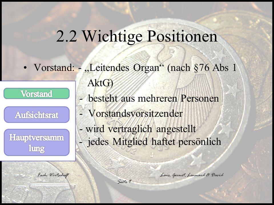 """2.2 Wichtige Positionen Vorstand: - """"Leitendes Organ (nach §76 Abs 1"""