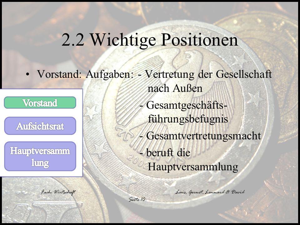 2.2 Wichtige Positionen Vorstand: Aufgaben: - Vertretung der Gesellschaft nach Außen.