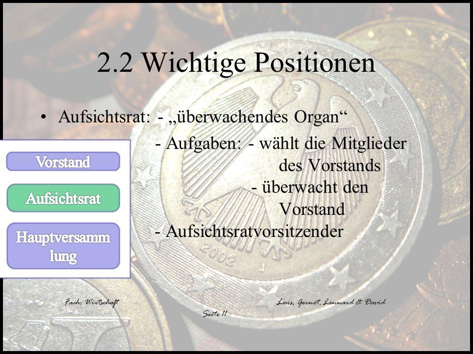 """2.2 Wichtige Positionen Aufsichtsrat: - """"überwachendes Organ"""