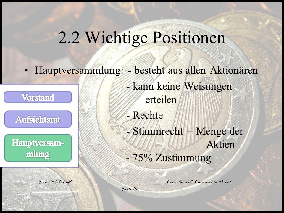 2.2 Wichtige Positionen Hauptversammlung: - besteht aus allen Aktionären. - kann keine Weisungen erteilen.