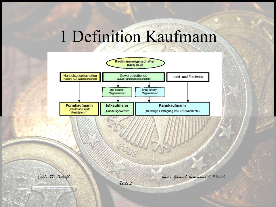 1 Definition Kaufmann Fach: Wirtschaft Fach: Wirtschaft