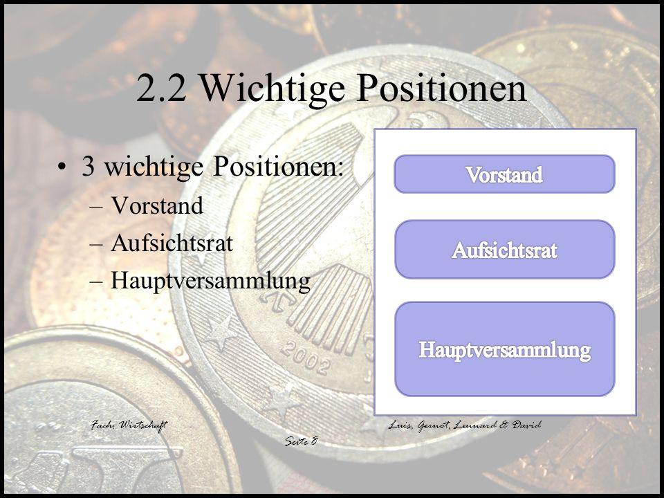 2.2 Wichtige Positionen 3 wichtige Positionen: Vorstand Aufsichtsrat