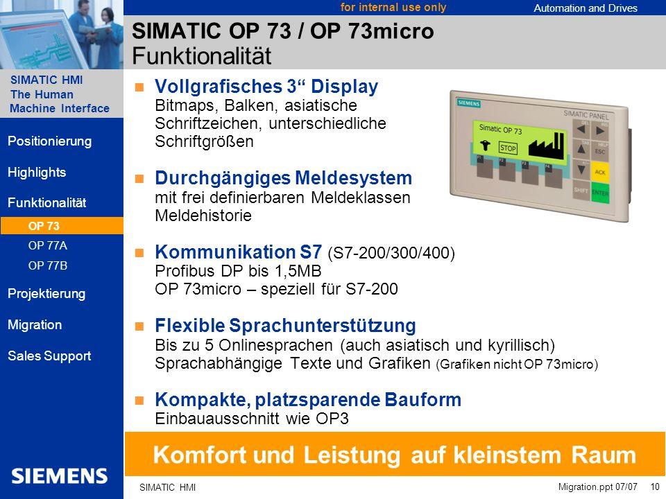 SIMATIC OP 73 / OP 73micro Funktionalität