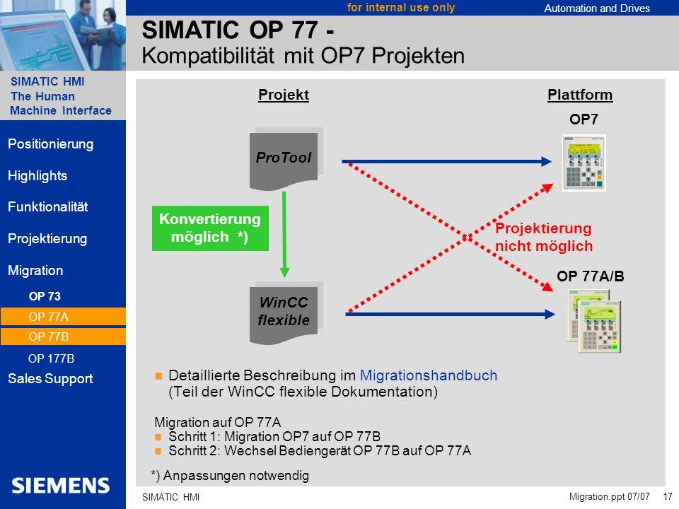 SIMATIC OP 77 - Kompatibilität mit OP7 Projekten