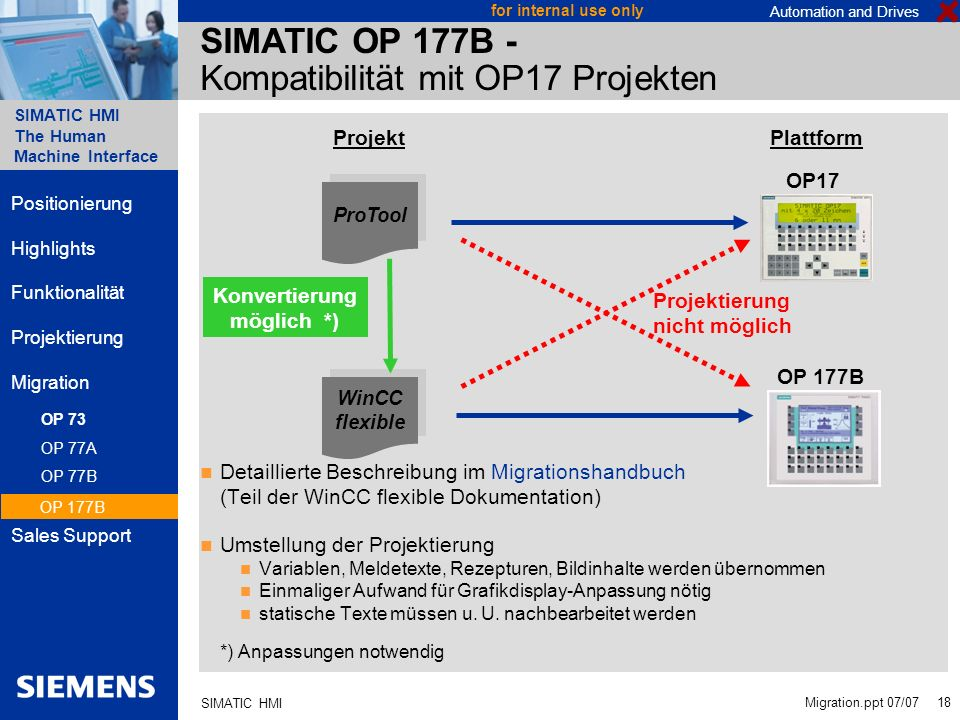 SIMATIC OP 177B - Kompatibilität mit OP17 Projekten