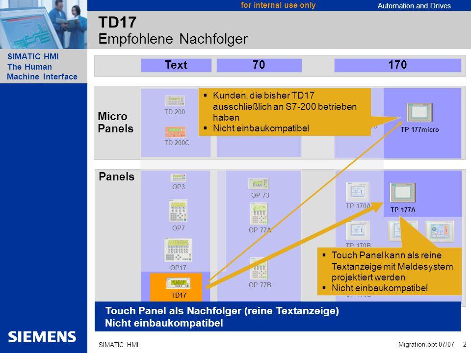 TD17 Empfohlene Nachfolger