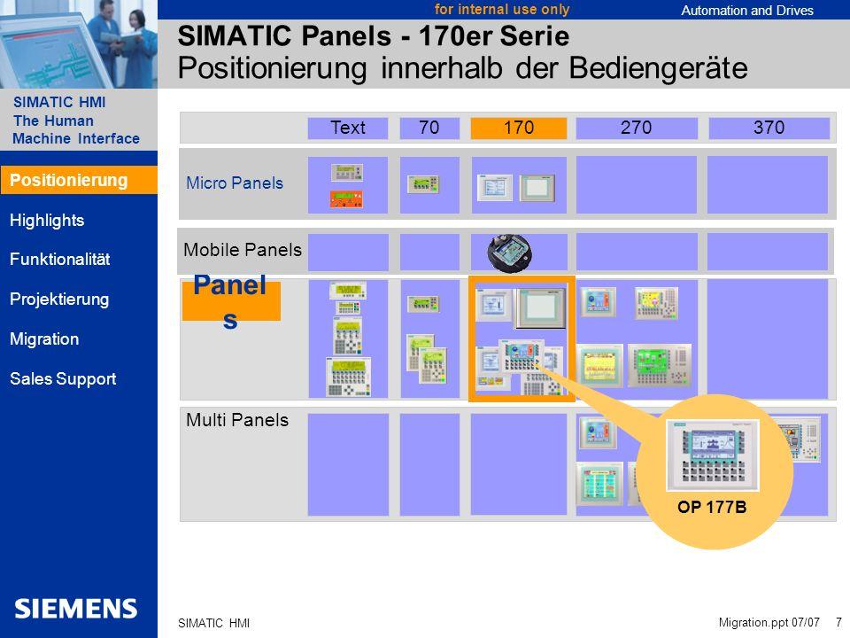 SIMATIC Panels - 170er Serie Positionierung innerhalb der Bediengeräte