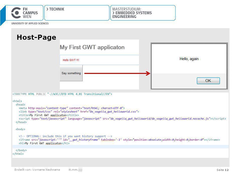 Host-Page Erstellt von: Vorname Nachname tt.mm.jjjj