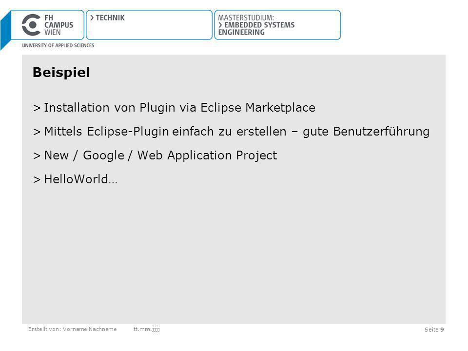 Beispiel Installation von Plugin via Eclipse Marketplace