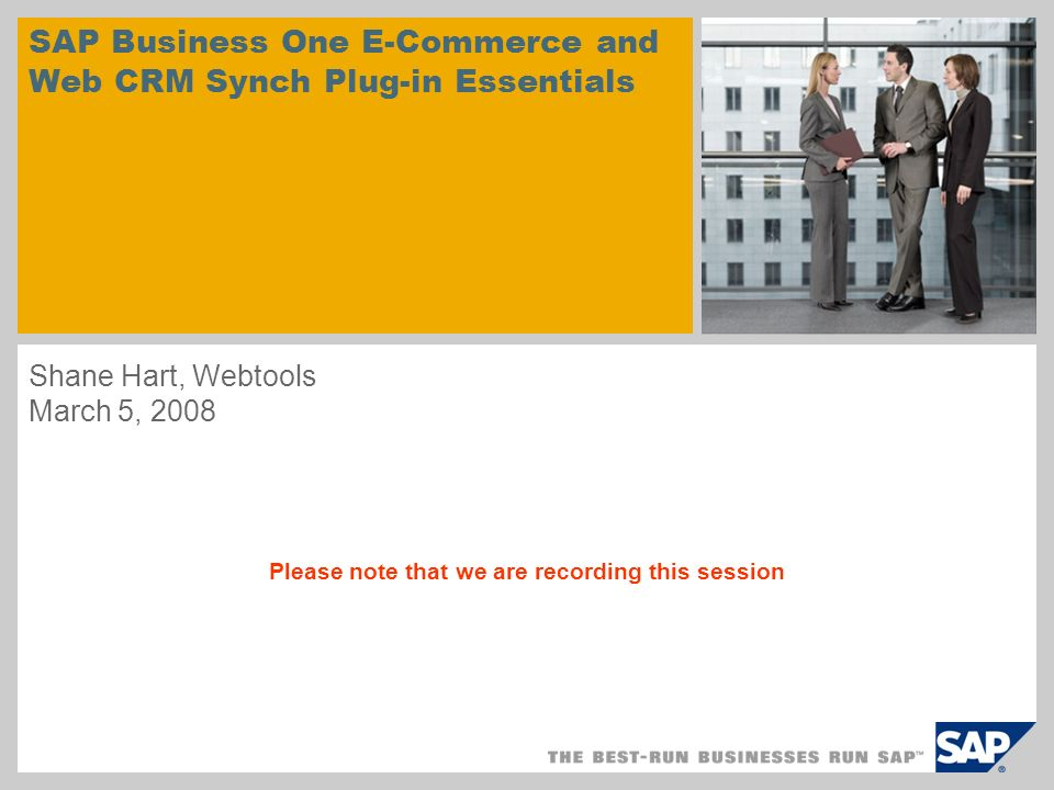 SAP Business One E-Commerce and Web CRM Synch Plug-in Essentials