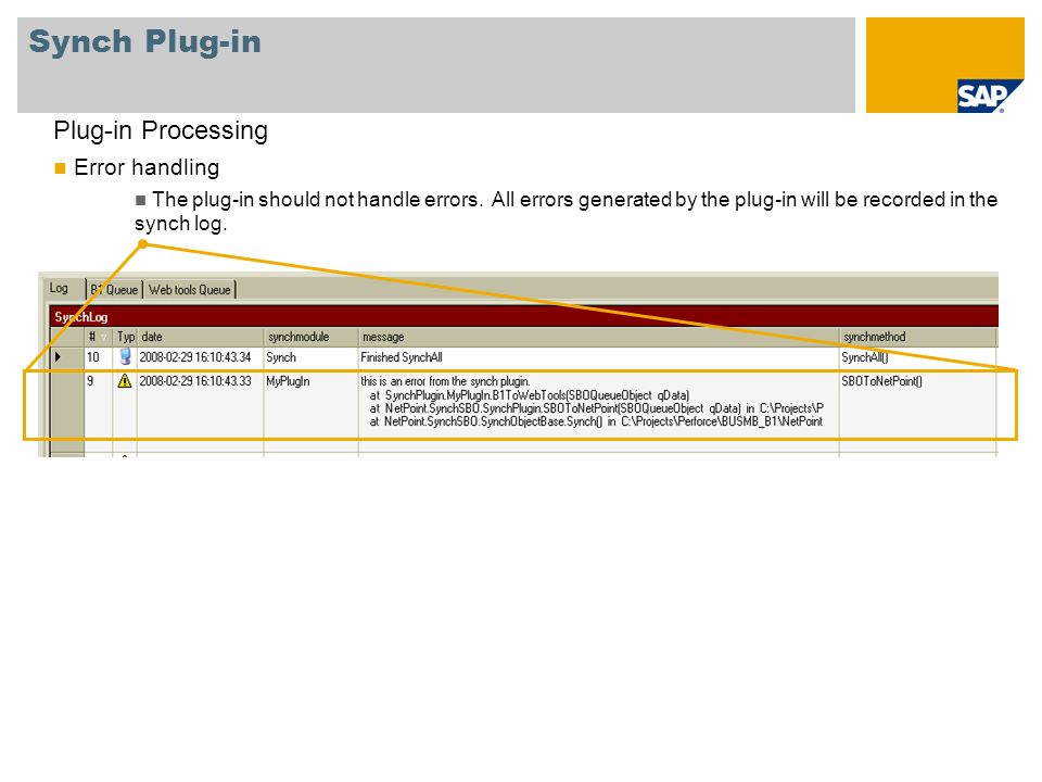 Synch Plug-in Plug-in Processing Error handling