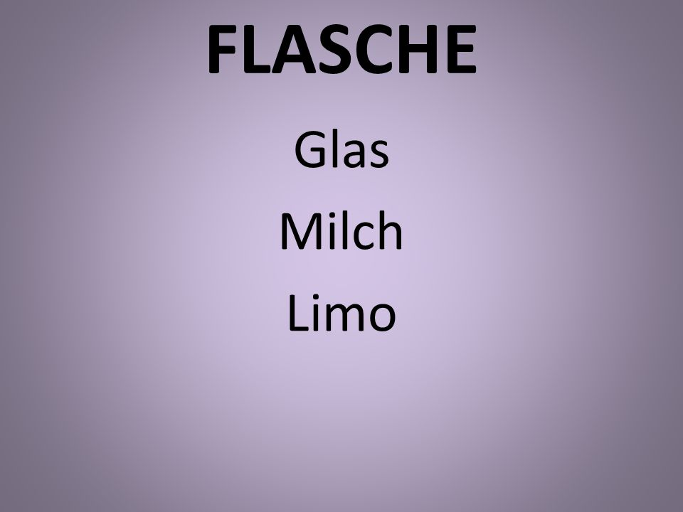 FLASCHE Glas Milch Limo