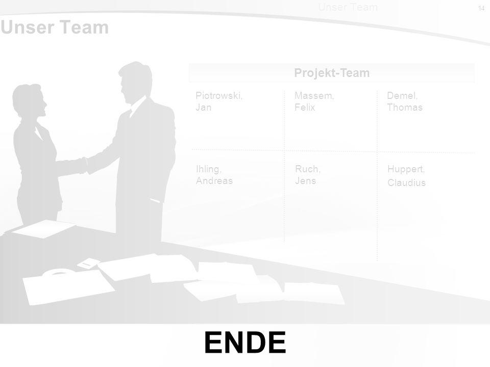 ENDE Unser Team Projekt-Team Unser Team Piotrowski, Jan Massem, Felix