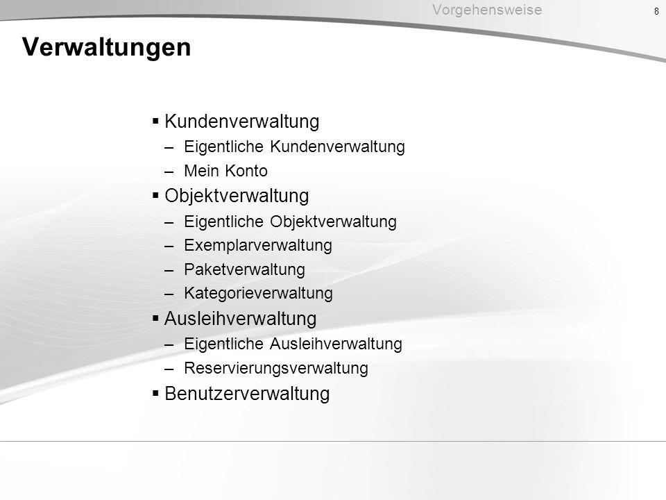 Verwaltungen Kundenverwaltung Objektverwaltung Ausleihverwaltung