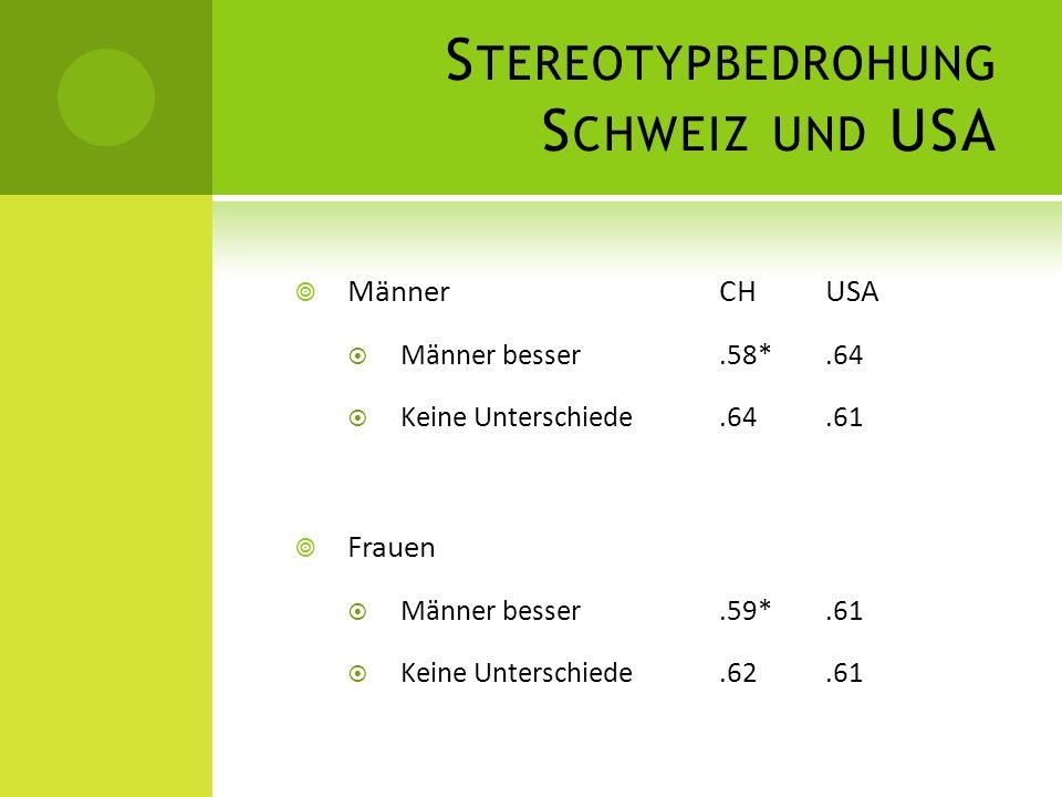 Stereotypbedrohung Schweiz und USA