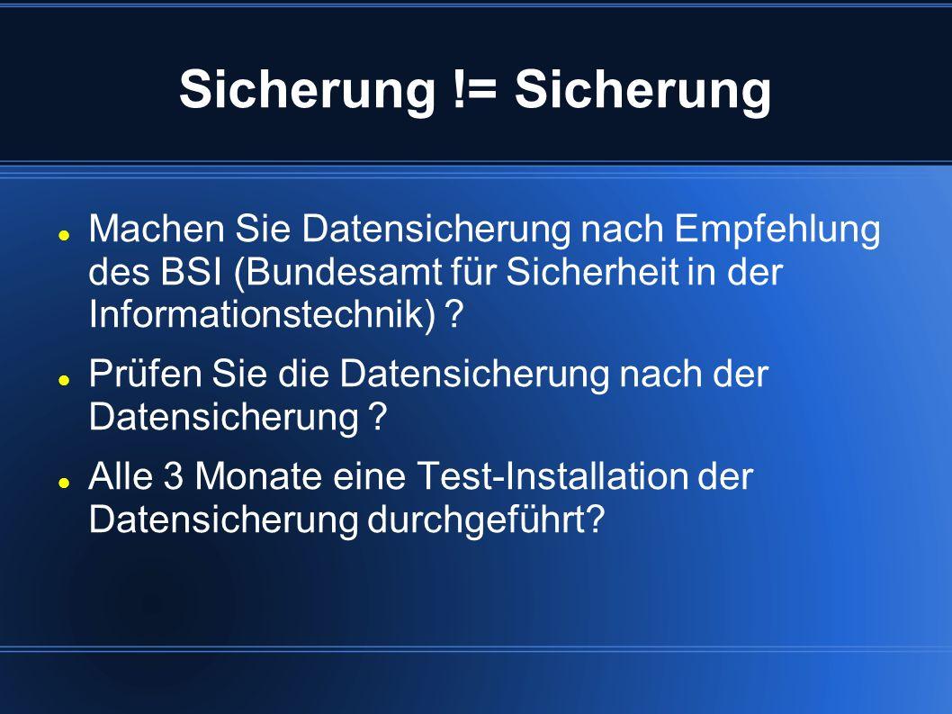 Sicherung != Sicherung Machen Sie Datensicherung nach Empfehlung des BSI (Bundesamt für Sicherheit in der Informationstechnik)