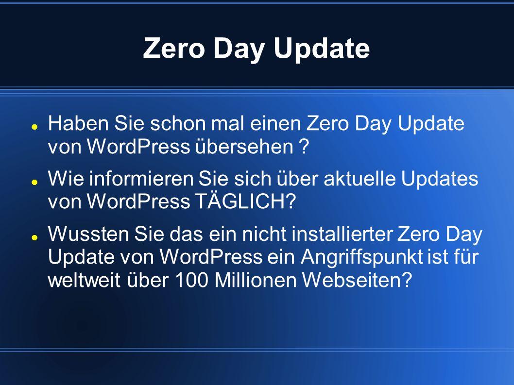 Zero Day Update Haben Sie schon mal einen Zero Day Update von WordPress übersehen
