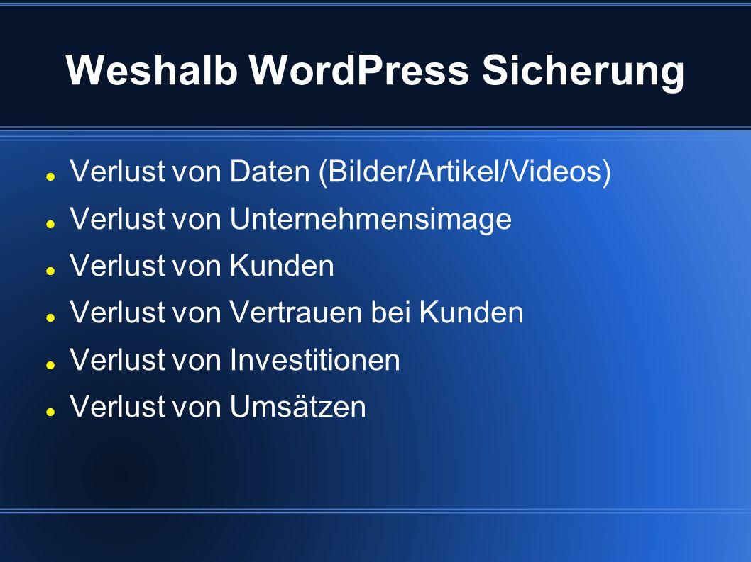 Weshalb WordPress Sicherung
