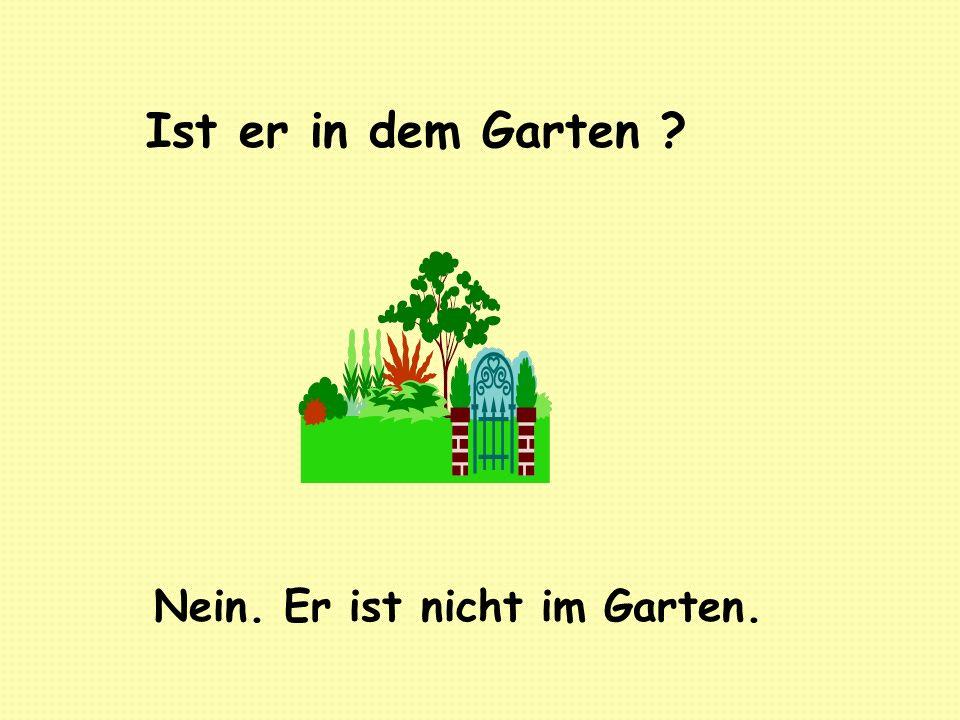 Ist er in dem Garten Nein. Er ist nicht im Garten.