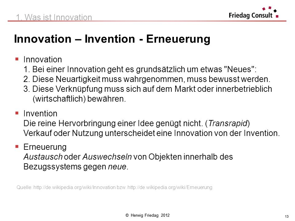 Innovation – Invention - Erneuerung