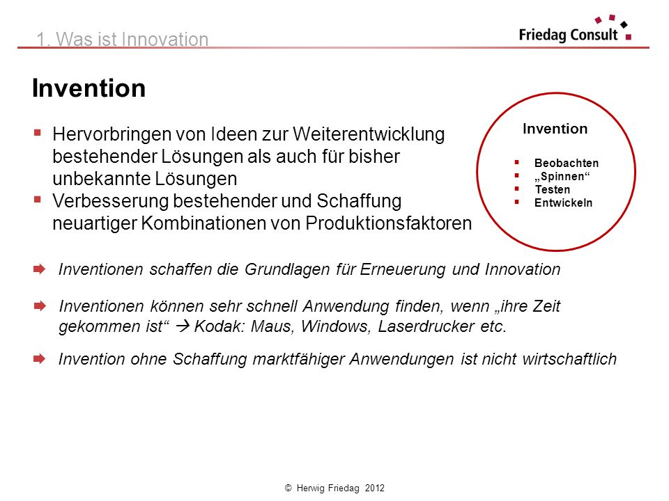 Invention 1. Was ist Innovation