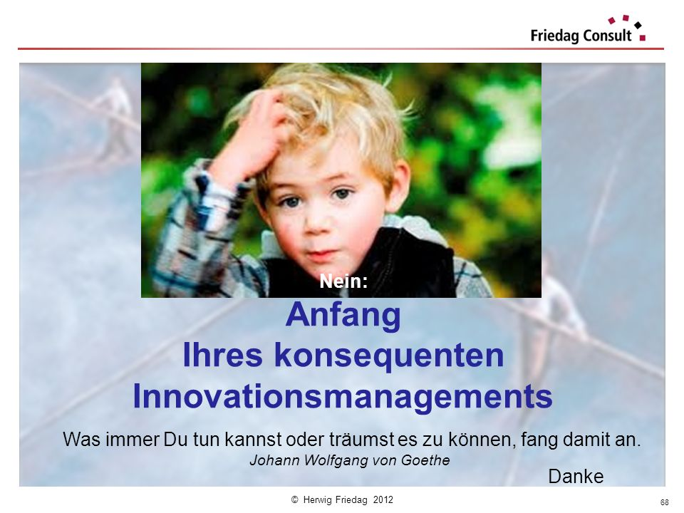Nein: Anfang Ihres konsequenten Innovationsmanagements