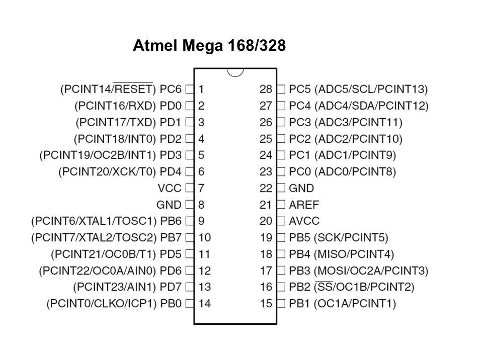 Atmel Mega 168/328 Pinbelegung des Mikrocontrollers: 1 Rest, 7 und 8 Stromversorgung, 9 und 10 Quarz, 23 bis 28 sind die Analogen Eingänge ...