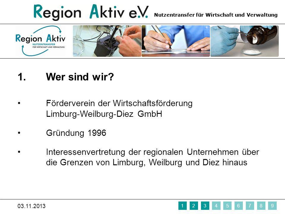 1. Wer sind wir Förderverein der Wirtschaftsförderung Limburg-Weilburg-Diez GmbH. Gründung 1996.
