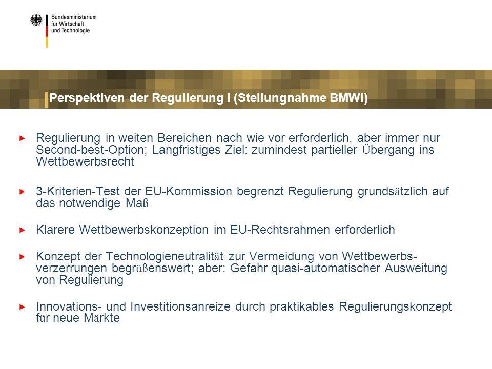 Perspektiven der Regulierung I (Stellungnahme BMWi)