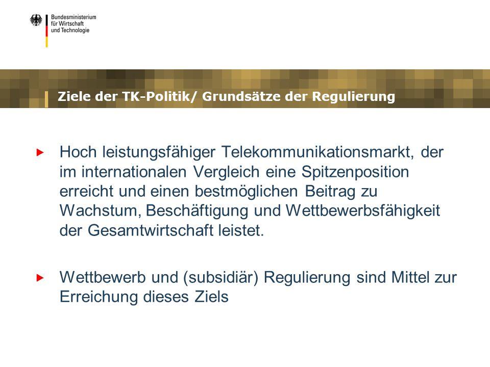 Ziele der TK-Politik/ Grundsätze der Regulierung