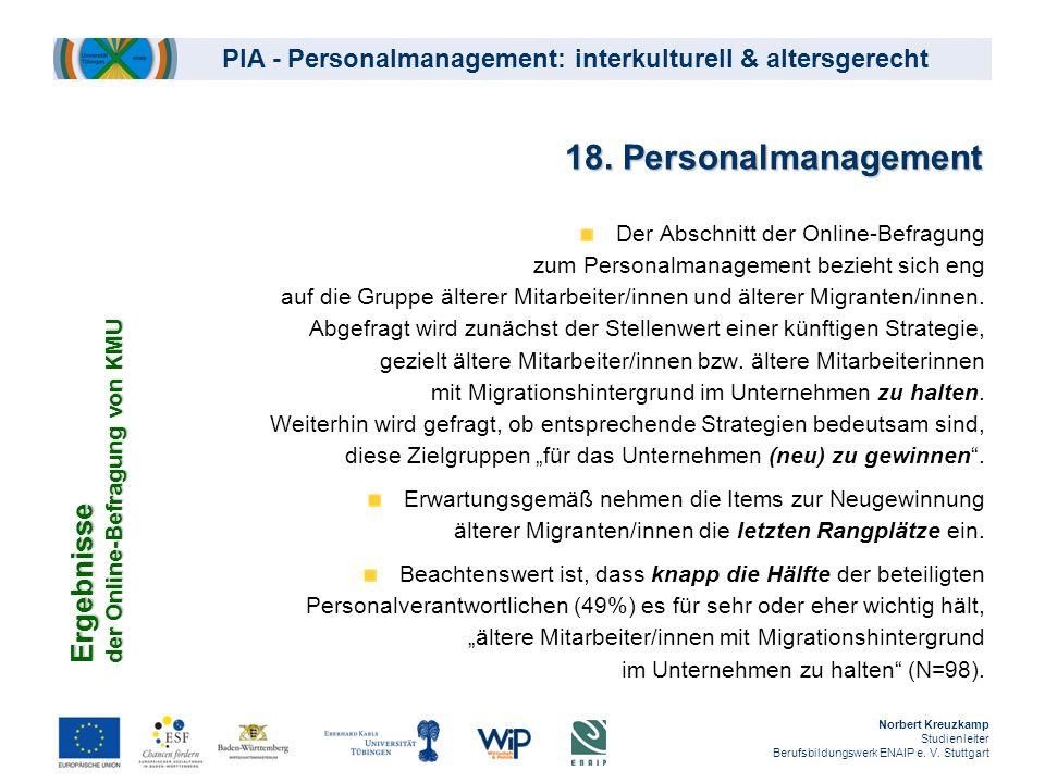 18. Personalmanagement Ergebnisse der Online-Befragung von KMU