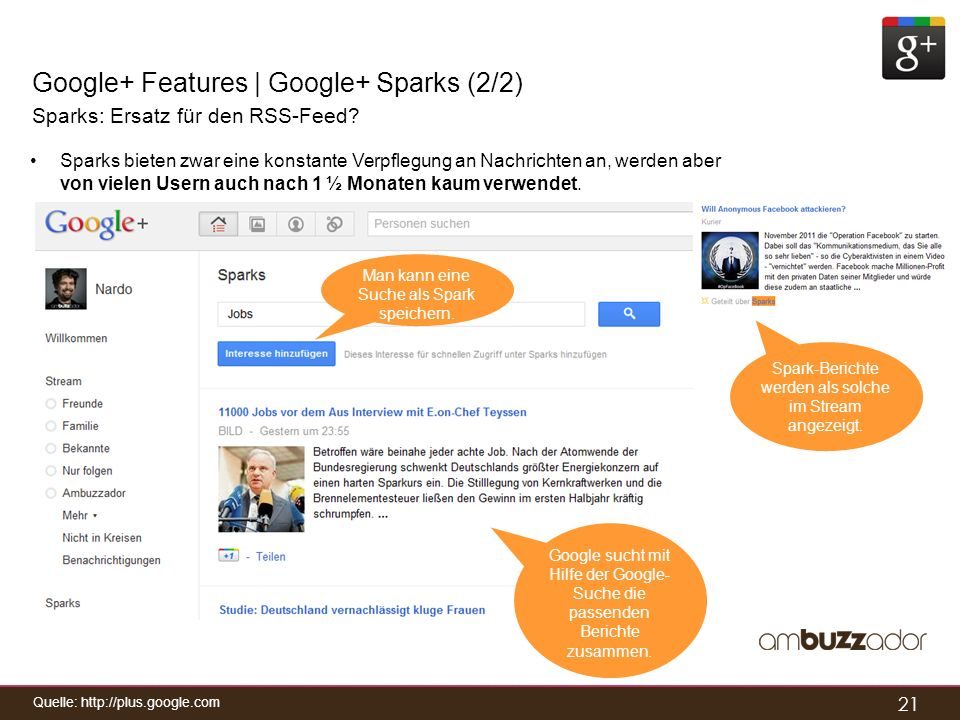 Google+ Features | Google+ Sparks (2/2)