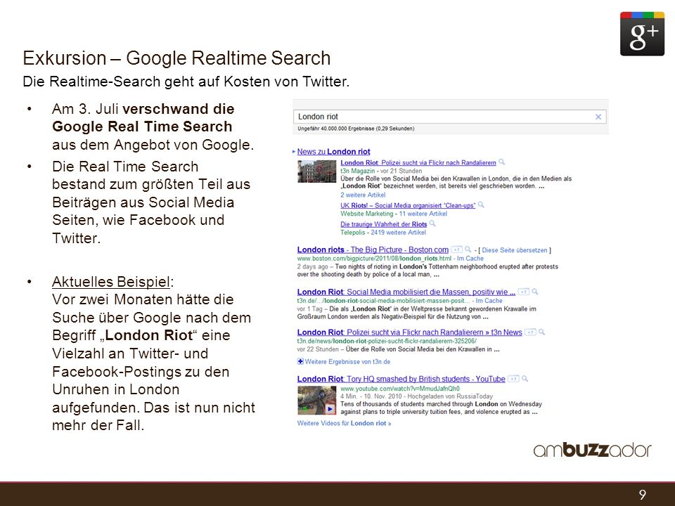 Exkursion – Google Realtime Search