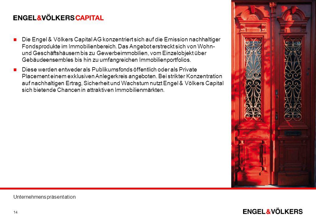 Die Engel & Völkers Capital AG konzentriert sich auf die Emission nachhaltiger Fondsprodukte im Immobilienbereich. Das Angebot erstreckt sich von Wohn- und Geschäftshäusern bis zu Gewerbeimmobilien, vom Einzelobjekt über Gebäudeensembles bis hin zu umfangreichen Immobilienportfolios.
