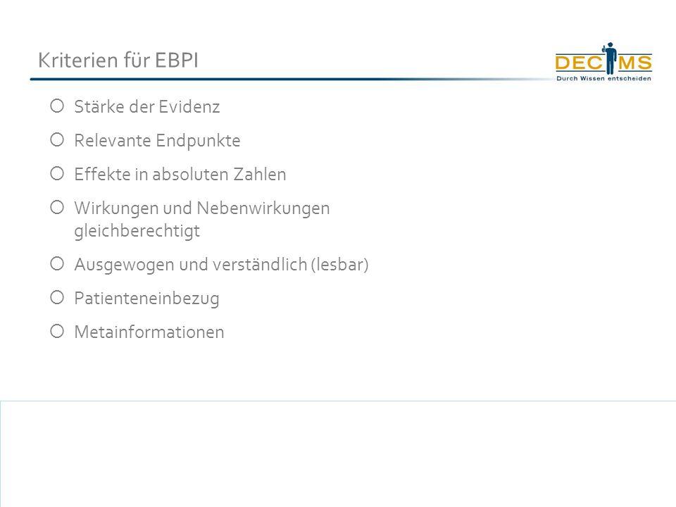 Kriterien für EBPI Stärke der Evidenz Relevante Endpunkte