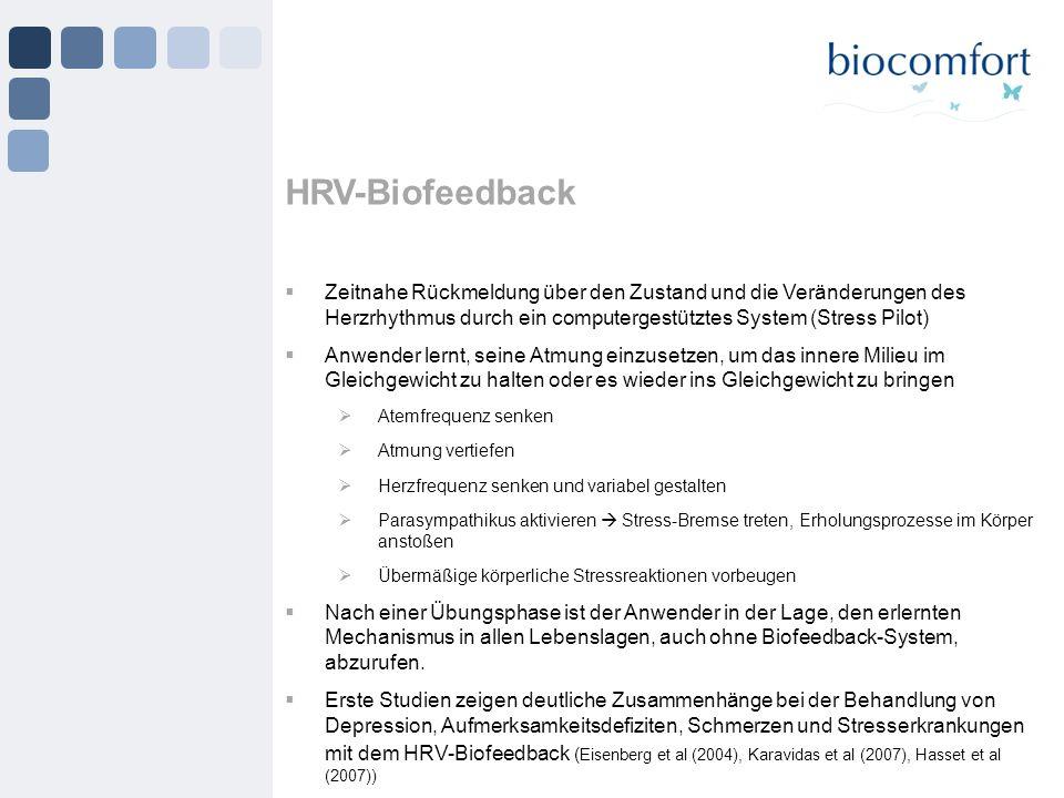 HRV-Biofeedback Zeitnahe Rückmeldung über den Zustand und die Veränderungen des Herzrhythmus durch ein computergestütztes System (Stress Pilot)