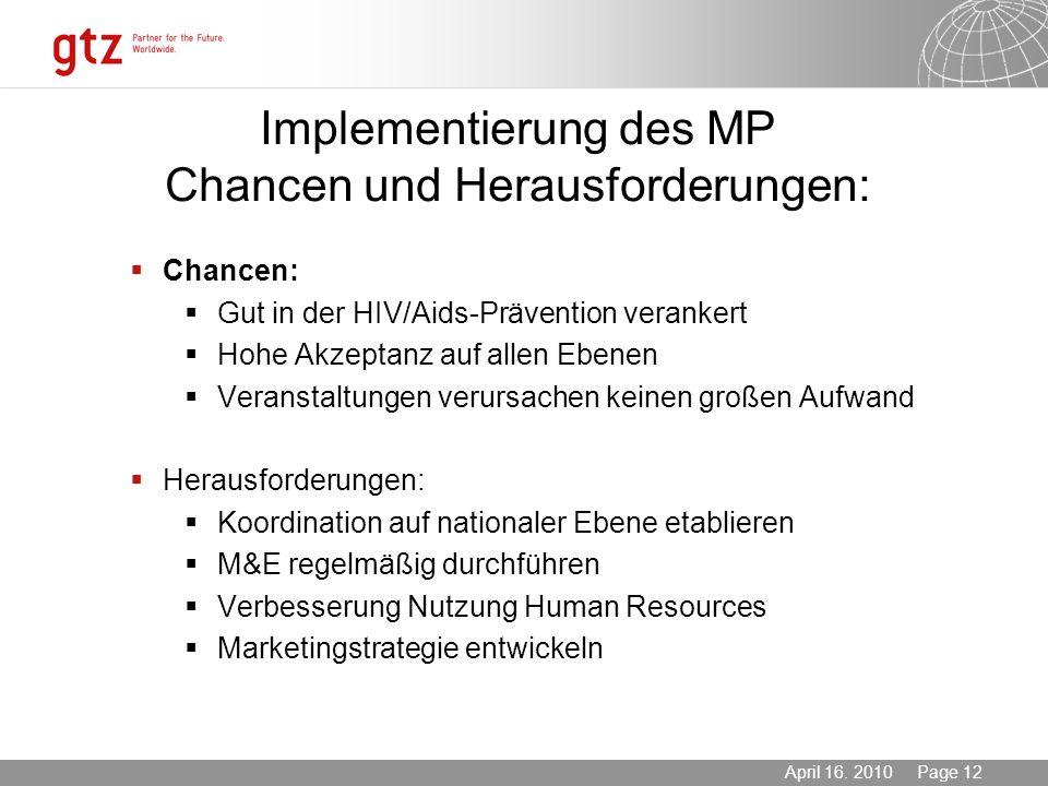 Implementierung des MP Chancen und Herausforderungen: