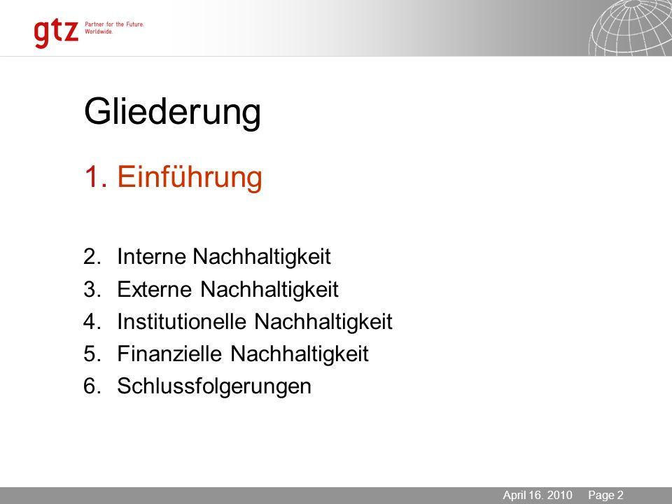 Gliederung Einführung 2. Interne Nachhaltigkeit