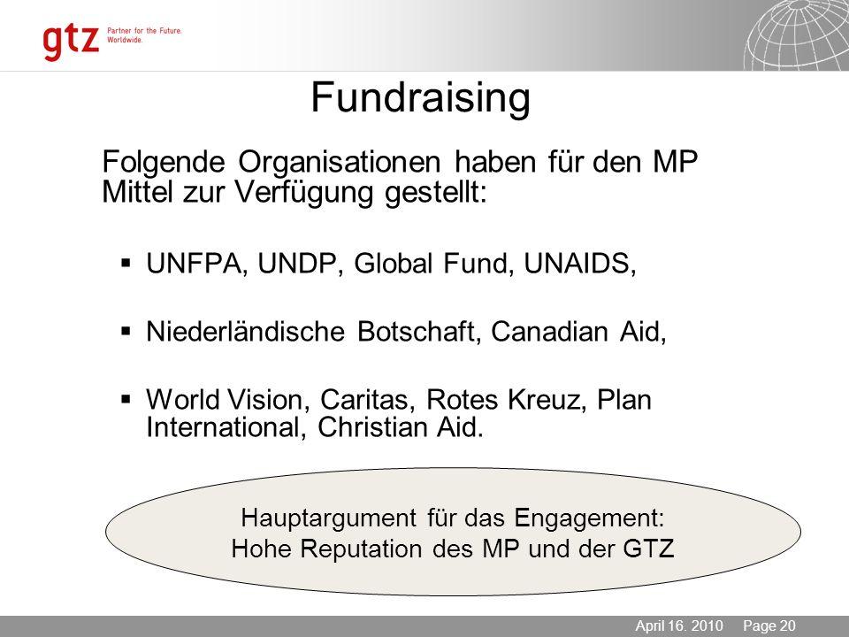 Fundraising UNFPA, UNDP, Global Fund, UNAIDS,