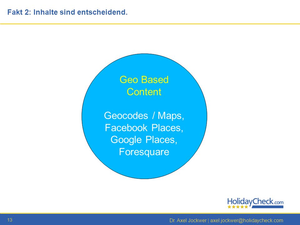 Geocodes / Maps, Facebook Places, Google Places, Foresquare