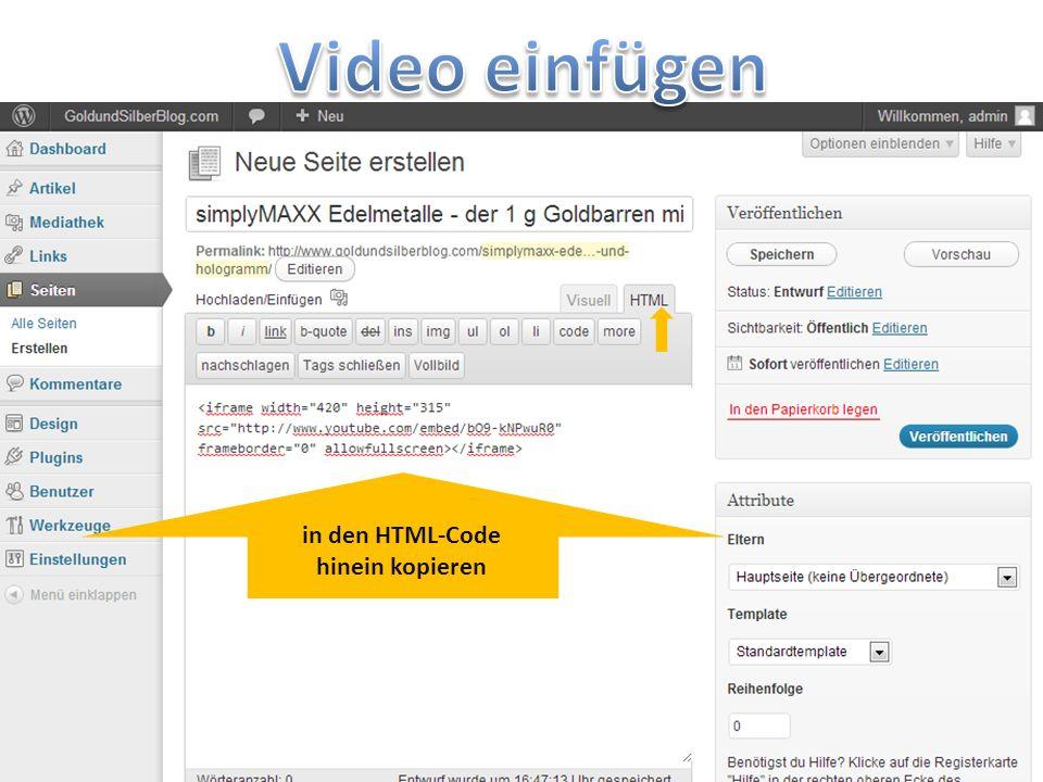 in den HTML-Code hinein kopieren