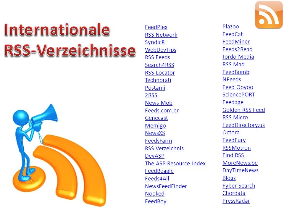 Internationale RSS-Verzeichnisse