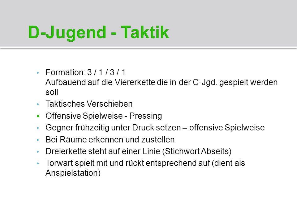 D-Jugend - Taktik Formation: 3 / 1 / 3 / 1 Aufbauend auf die Viererkette die in der C-Jgd. gespielt werden soll.