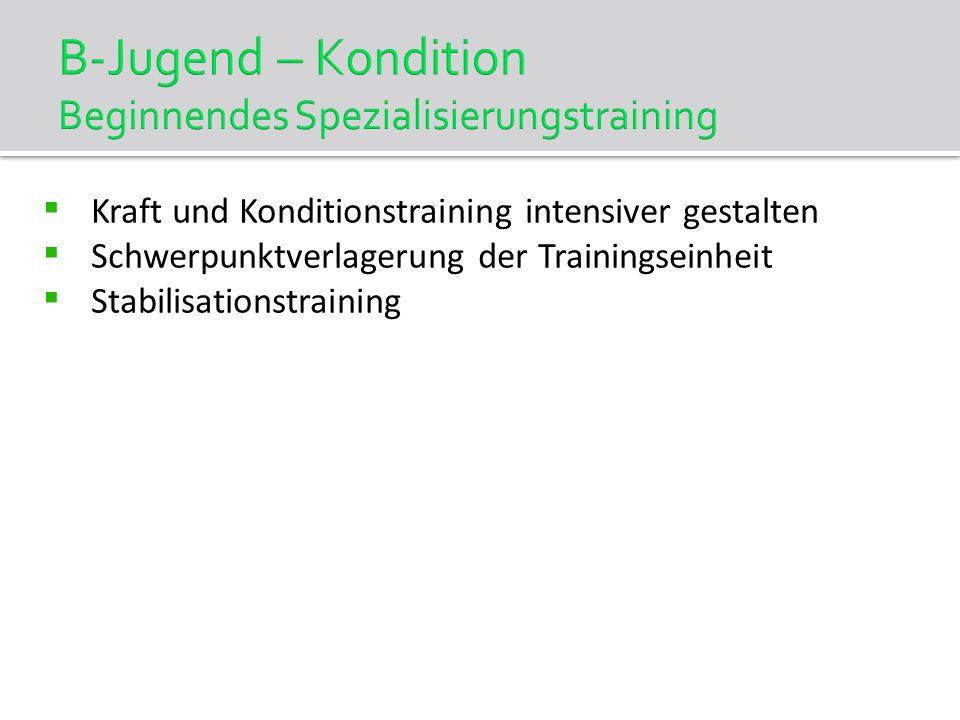 B-Jugend – Kondition Beginnendes Spezialisierungstraining