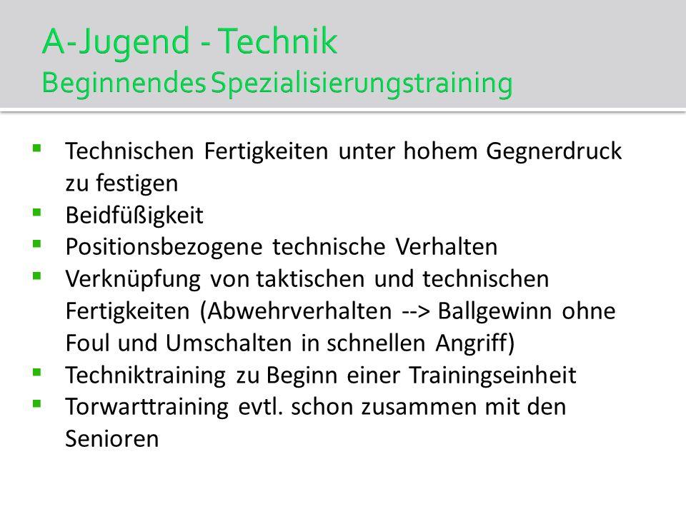 A-Jugend - Technik Beginnendes Spezialisierungstraining