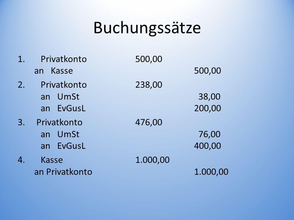 Buchungssätze Privatkonto 500,00 an Kasse 500,00