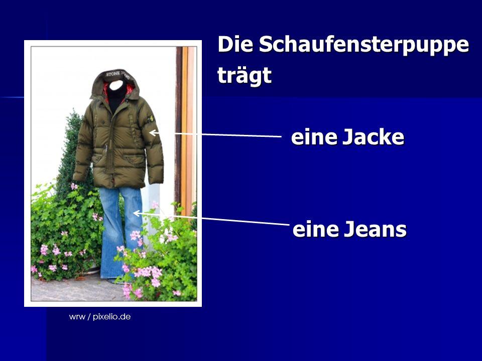 Die Schaufensterpuppe trägt eine Jacke eine Jeans