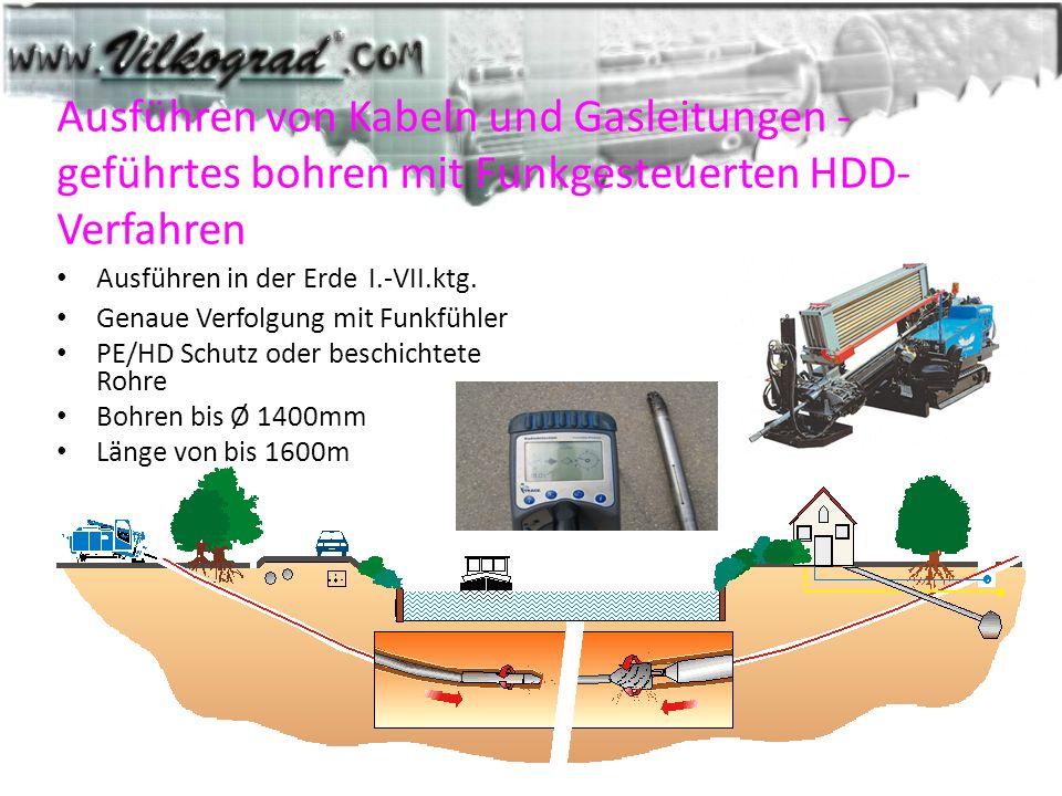 Ausführen von Kabeln und Gasleitungen - geführtes bohren mit Funkgesteuerten HDD-Verfahren